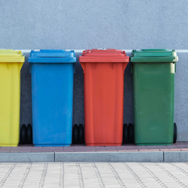 four assorted-color trash bins beside gray wall photo – Free Bin Image on Unsplash